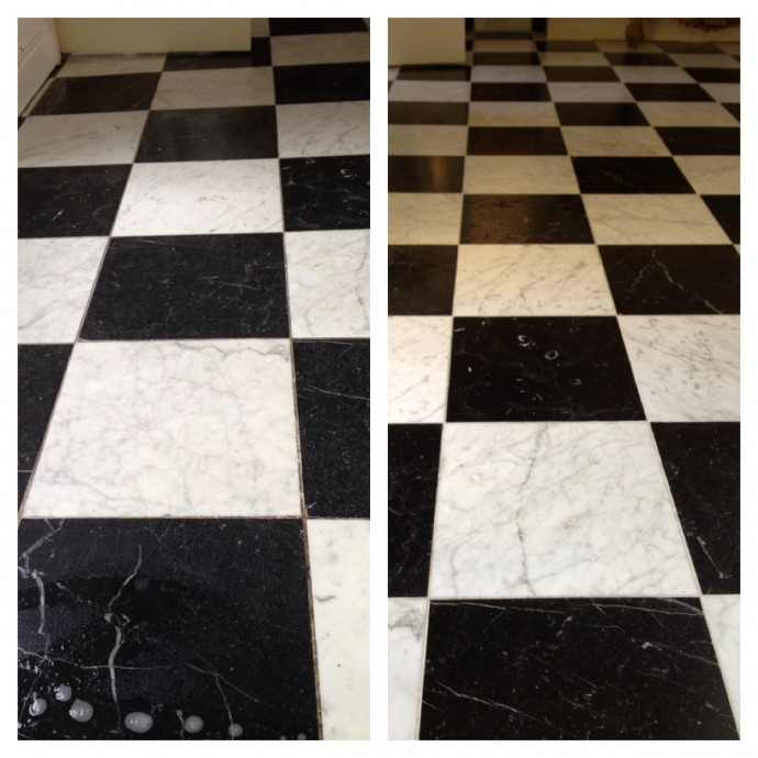 Marble grout cleaning