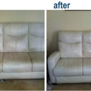 Before and after of white leather cleaning